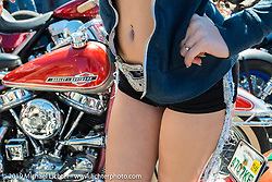 Morgan Neff modeled at Willie's Tropical Tattoo annual Old School Bike Show during Daytona Bike Week. FL, USA. March 13, 2014.  Photography ©2014 Michael Lichter.