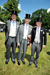 Left to right, LORD CHARLES SPENCER-CHURCHILL, the DUKE OF MARLBOROUGH and VISCOUNT ASTOR at at the first day of the 2009 Royal Ascot racing festival on 16th June 2009.