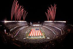 A General View of Lincoln Financial Field with a field sized American Flag and Fireworks before the NFL NFC Championship game between The Minnesota Vikings and The Philadelphia Eagles at Lincoln Financial Field in Philadelphia on Sunday, January 21st 2018. (Brian Garfinkel/Philadelphia Eagles)