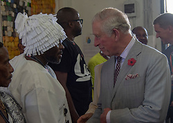 The Prince of Wales during a visit to the Jamestown Cafe in Accra, Ghana, on day four of his trip to west Africa with the Duchess of Cornwall.