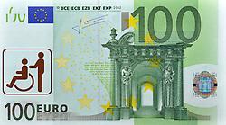 SYMBOLBILD - Krankengeld, Behindertenkosten, Kosten fuer Krankenkassen, 100 EURO Geldschein, Banknote, Vorderseite, mit Pictogramm für Behindert // SYMBOL PICTURE - sick leave, disability costs, costs for health insurance, 100 EURO Paper Currency, banknote, front, with sign for Disabled. EXPA Pictures © 2013, PhotoCredit: EXPA/ Eibner/ Michael Weber<br /> <br /> ***** ATTENTION - OUT OF GER *****