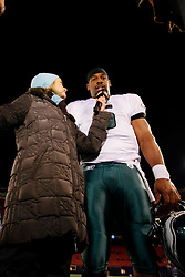 Philadelphia Eagles quarterback Donovan McNabb #5 is interviewed after the NFL game between the Philadelphia Eagles and the New York Giants on December 13th 2009. The Eagles won 45-38 at Giants Stadium in East Rutherford, New Jersey. (Photo By Brian Garfinkel)