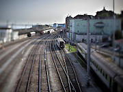 Aspect of the Lisbon Santa Apolónia railway station.This photograph is part of a body of work about Lisbon, feelings, affections and loneliness. Is about a city depressed by the crisis, but even so, tolerant and cosmopolitan. This part of Lisbon, the old town near the river Tejo (Tagus), with his deep character, where local people meets foreigners and alternative ways of life mixes with shamefaced poverty, is sublime by its peculiar light.