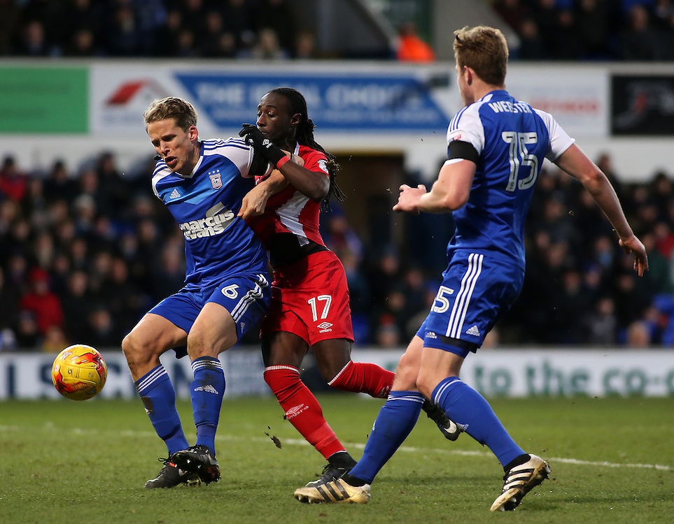 Ipswich Town's Christophe Berra battles with Blackburn Rovers' Marvin Emnes<br /> <br /> Photographer David Shipman/CameraSport<br /> <br /> The EFL Sky Bet Championship - Ipswich Town v Blackburn Rovers - Saturday 14th January 2017 - Portman Road - Ipswich<br /> <br /> World Copyright © 2017 CameraSport. All rights reserved. 43 Linden Ave. Countesthorpe. Leicester. England. LE8 5PG - Tel: +44 (0) 116 277 4147 - admin@camerasport.com - www.camerasport.com