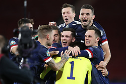 File photo dated 08-10-2020 of Scotland players celebrate victory in the penalty shoot-out during the UEFA Euro 2020 Play-Off semi final match. Issue date: Tuesday June 1, 2021.