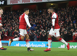 29 November 2017 London : Premier League Football : Arsenal v Huddersfield Town - Alexandre Lacazette of Arsenal celebrates the opening goal with Alexis Sanchez (left).<br /> (photo by Mark Leech)