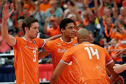 21-09-2019 NED: EC Volleyball 2019 Netherlands - Germany, Apeldoorn<br /> 1/8 final EC Volleyball / Maarten van Garderen #3 of Netherlands, Fabian Plak #8 of Netherlands