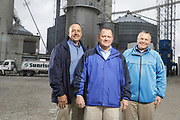 SHOT 10/29/18 9:46:14 AM - Sunrise Cooperative is a leading agricultural and energy cooperative based in Fremont, Ohio with members spanning from the Ohio River to Lake Erie. Sunrise is 100-percent farmer-owned and was formed through the merger of Trupointe Cooperative and Sunrise Cooperative on September 1, 2016. Photographed at the Clyde, Ohio grain elevator was George D. Secor President / CEO and John Lowry<br /> Chairman of the Board of Directors with  CoBank RM Gary Weidenborner. (Photo by Marc Piscotty © 2018)