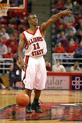 18 January 2004  Vince Greene directs traffic from half court. Illinois State University Redbirds host the Southwest Missouri State Bears at Redbird Arena in Normal IL