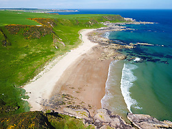 Aerial view from drone of Sunnyside Beach on Moray Firth coast in Aberdeenshire, Scotland, UK