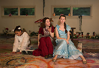 """The Baker's Wife (Chelsea Sasserson) tries to convince Cinderella (Mae Kenny) to give her one of her slippers during dress rehearsal for """"Into The Woods"""" with SKYT  Streetcar Kids and Youth Theater on Monday evening at the Gilford Methodist Church.   (Karen Bobotas/for the Laconia Daily Sun)"""