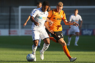 Wayne Routledge of Swansea city (L) holds off Jack Taylor of Barnet (R). Pre-season friendly match, Barnet v Swansea city at the Hive in London on Wednesday 12th July 2017.<br /> pic by Steffan Bowen, Andrew Orchard sports photography.