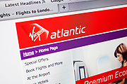 Computer screen showing the website for travel / flights company Virgin Atlantic