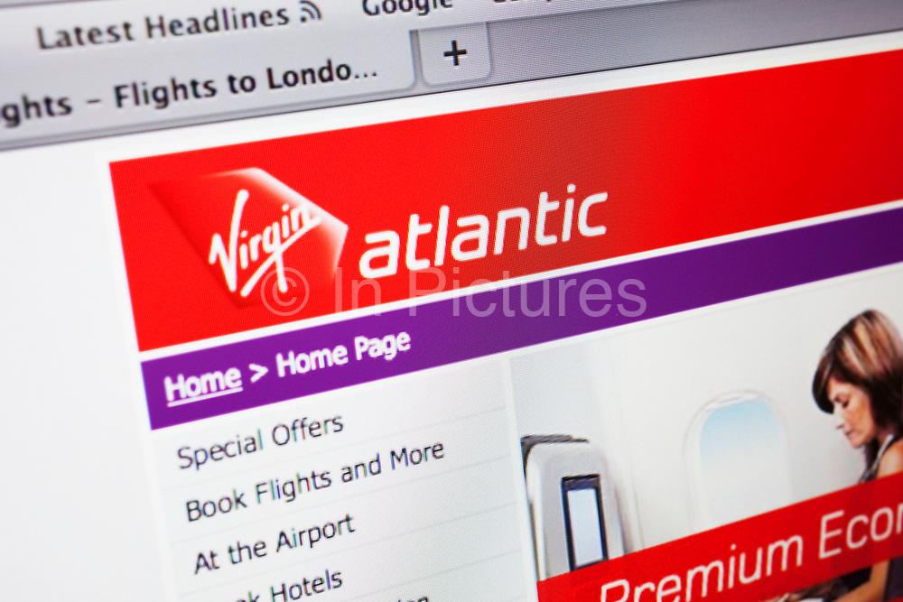 Computer screen showing the website for travel / flights company Virgin Atlantic