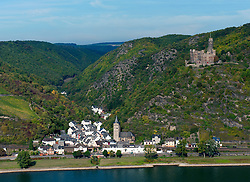 Castle Burg Maus or Mouse Castle on hill above Wellmich village on  River Rhine in Rhineland Germany