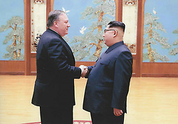 Apr 26, 2018 - Washington, District of Columbia, U.S. - Photos released by the White House of then CIA Director MIKE POMPEO, left,  meeting KIM JONG UN in Pyongyang over Easter weekend. (Credit Image: ? White House via ZUMA Wire)
