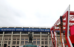 General view of the preparation of the fan zone at the Luzhniki Stadium prior to the FIFA World Cup 2018 opening in Moscow, Russia