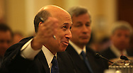 Lloyd C. Blankfein,Chairman of the board and CEO Goldman Sachs Group Inc. answers questions at a hearing of the Financial Crisis Inquiry Commission. (on right:James Dimon Chairman of the Board and CEO, JP Morgan Chase),   Photo by Dennis Brack