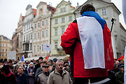 Woman with the Czech flag during a rally against the Czech government's social reforms and budget cuts at Old Town Square during the 17th of November 2011 -  the national holiday (Day of Struggle for Freedom and Democracy) in Prague.