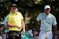 September 21, 2018 - Atlanta, Georgia, United States - Tiger Woods (R) and Rickie Fowler wait on the 3rd tee during the second round of the 2018 TOUR Championship. (Credit Image: © Debby Wong/ZUMA Wire)