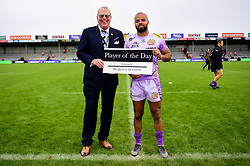 Man of the Match Tom O'Flaherty of Exeter Chiefs after the final whistle of the match - Mandatory by-line: Ryan Hiscott/JMP - 12/10/2019 - RUGBY - Sandy Park - Exeter, England - Exeter Chiefs v Bristol Bears - Premiership Rugby Cup