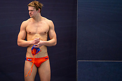 Guus Wolswinkel of the Netherlands disappointed against Montenegro during the Olympic qualifying tournament. The Dutch water polo players are on the hunt for a starting ticket for the Olympic Games on February 19, 2021 in Rotterdam