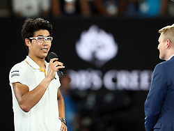 MELBOURNE, Jan. 22, 2018  Chung Hyeon (L) of South Korea is interviewed after winning the men's singles fourth round match against Novak Djokovic of Serbia at Australian Open 2018 in Melbourne, Australia, Jan. 22, 2018. Chung Hyeon won by 3-0. (Credit Image: © Li Peng/Xinhua via ZUMA Wire)
