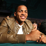 TAMPA, FL - FEBRUARY 28: Boxer Felix Verdejo watches from the front row during the SoloBoxeo Tecate boxing match at the University of South Florida Sundome on February 28, 2015 in Tampa, Florida. Verdejo was the headliner until a hand injury forced him out of the event. (Photo by Alex Menendez/Getty Images) *** Local Caption *** Felix Verdejo