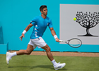 Tennis - 2019 Queen's Club Fever-Tree Championships - Day One, Monday<br /> <br /> Men's Singles, First Round: Fernando VERDASCO (ESP) vs Daniil MEDVEDEV (RUS) [4<br /> <br /> Fernando Verdasco (ESP) scurries across the baseline to reach the ball on Centre Court.<br />  <br /> COLORSPORT/DANIEL BEARHAM