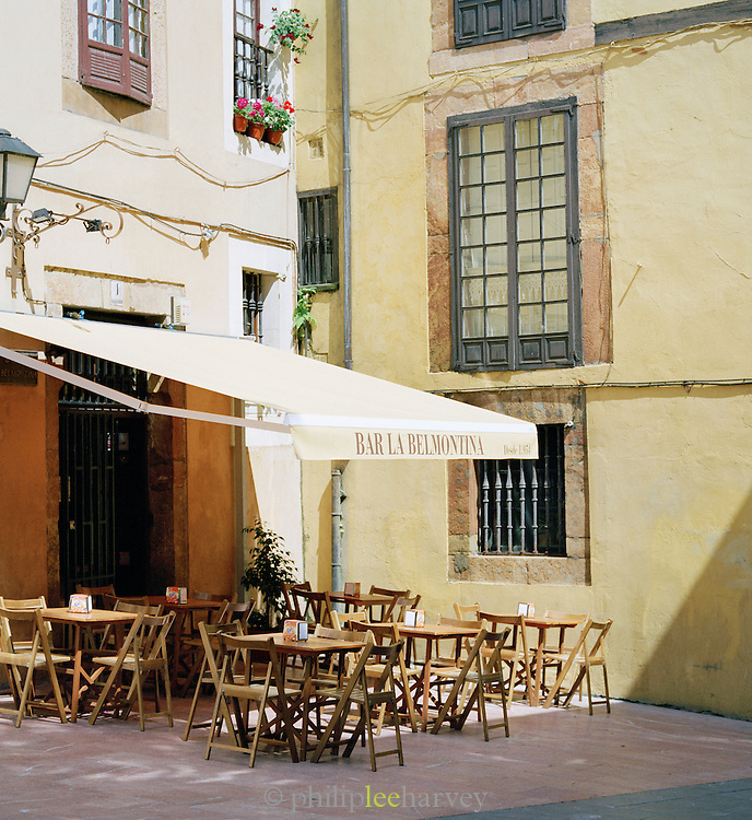Terrace outside of a cafe and bar in Oviedo, Asturias, Spain