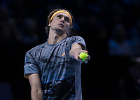 Tennis - 2019 Nitto ATP Finals at The O2 - Day Two<br /> <br /> Singles Group Andre Agassi: Rafael Nadal (Spain) Vs. Alexander Zverev (Germany)<br /> <br /> Alexander Zverev (Germany) serves to take the final point and match against Rafael Nadal (Spain) <br /> <br /> COLORSPORT/DANIEL BEARHAM<br /> <br /> COLORSPORT/DANIEL BEARHAM