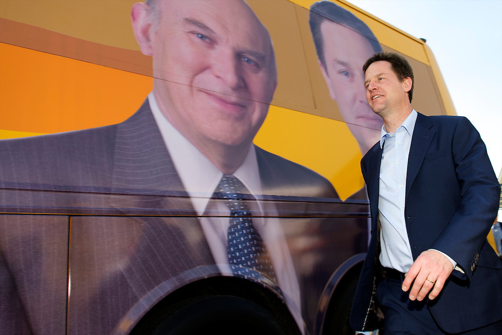 Liberal Democrat leader Nick Clegg campaigns on 23 April 2010, holding a rally at the Morrison's supermarket in Norwich, Norfolk, UK.  With the general election looming on 6 May 2010, predicted to be one of the closest and most fiercely fought in decades, candidates are campaigning at a torrid pace, holding many events throughout the UK..