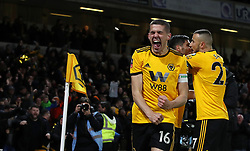 Wolverhampton Wanderers' Conor Coady celebrates his side's first goal of the game during the FA Cup quarter final match at Molineux, Wolverhampton.