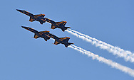 The United States Navy Blue Angels perform during the Kansas City Air Show in Kansas City, Missouri