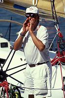 Islas Baleares. Palma de Mallorca.<br /> El Rey Don Juan Carlos a bordo del bribón en la regata de la Copa del Rey de Vela.<br /> <br /> © JOAN COSTA