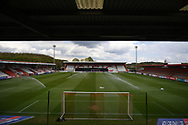 The Lamex Stadium ground view during the EFL Sky Bet League 2 match between Stevenage and Crawley Town at the Lamex Stadium, Stevenage, England on 1 May 2021.