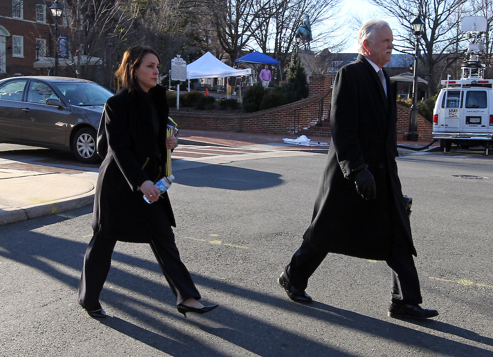CHARLOTTESVILLE, VA - FEBRUARY 13: Defense attorneys Francis McQ. Lawrence, right, and Rhonda Quagliana, left, walk to the Charlottesville Circuit courthouse for the George Huguely trial. Huguely was charged in the May 2010 death of his girlfriend Yeardley Love. She was a member of the Virginia women's lacrosse team. Huguely pleaded not guilty to first-degree murder. (Credit Image: © Andrew Shurtleff
