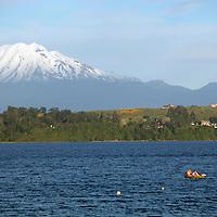 South America, Chile, Puerto Varas. Llanquihue Lake and Mt. Calbuco.