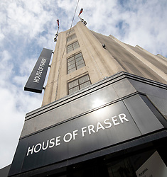 © Licensed to London News Pictures. 10/08/2018. London, UK. House of Fraser's flagship store on Oxford Street in London. The department store chain has reportedly been bought by Sports Direct for £90m after administrators were appointed. Photo credit: Rob Pinney/LNP