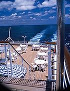 Onboard MV Minerva cruise ship Swan Hellenic holiday cruises deck and stern wake in sea 1997