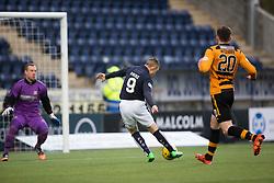 Falkirk's John Baird scoring their first goal. <br /> half time : Falkirk 3 v 0 Alloa Athletic, Scottish Championship game played at The Falkirk Stadium.