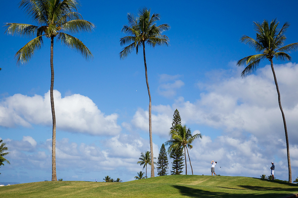 Unknown golfer tees off on number fourteen during the second round of the 3rd annual Kaanapali Classic collegiate invitational. Kaanapali Royal Course Lahaina, Hawaii November 5th, 2016/ Photo by Aric Becker