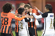Corinthians' Fagner (23) and Shakhtar's Olexandr Kucher get into a fight as Taison (28) and Corinthians' Angel Romero (11) attempt to separate them during the second half of a soccer match in the Florida Cup in Kissimmee, Fla., Wednesday, Jan. 20, 2016. Kucher was ejected from the game. Corinthians won 3-2. (AP Photo/Phelan M. Ebenhack)