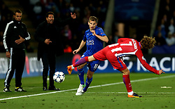 Marc Albrighton of Leicester City passes the ball past Antoine Griezmann of Atletico Madrid - Mandatory by-line: Robbie Stephenson/JMP - 18/04/2017 - FOOTBALL - King Power Stadium - Leicester, England - Leicester City v Atletico Madrid - UEFA Champions League Quarter-Final Second Leg