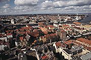 View from Top Steeple of vor Freslers Kirke (church). Copenhagen, Denmark.