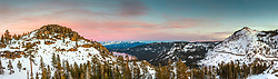 """""""Donner Lake Sunset 53"""" - Panoramic sunset photograph of Donner Lake and Truckee, California, looking east."""
