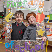 Darragh O'Donnellan and Michael O'Reilly at their First day at Crusheen National School