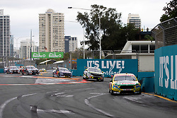 October 21, 2018 - Gold Coast, QLD, U.S. - GOLD COAST, QLD - OCTOBER 21: Chaz Mostert / James Moffat in the Supercheap Auto Racing Ford Falcon (55) leads a train of cars during the race at The 2018 Vodafone Supercar Gold Coast 600 in Queensland, Australia. (Photo by Speed Media/Icon Sportswire) (Credit Image: © Speed Media/Icon SMI via ZUMA Press)