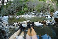 Soaking at Sykes Hot Springs, Big Sur, California.