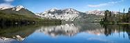 Petit Lake Panorama.  Petit Lake is one of several lakes at the foot of Idaho's beautiful Sawtooth Range of Central Idaho.